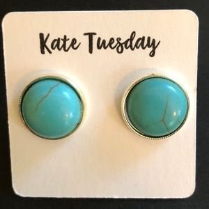 Kate Tuesday turquoise stone earrings 10mm